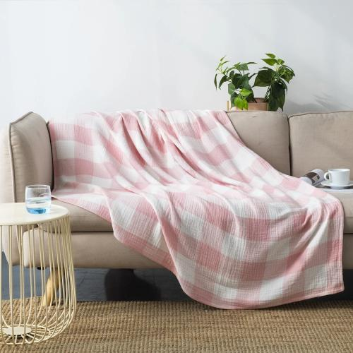 Wholelinens Cotton Muslin Throw Blanket, Pink - Wholelinens