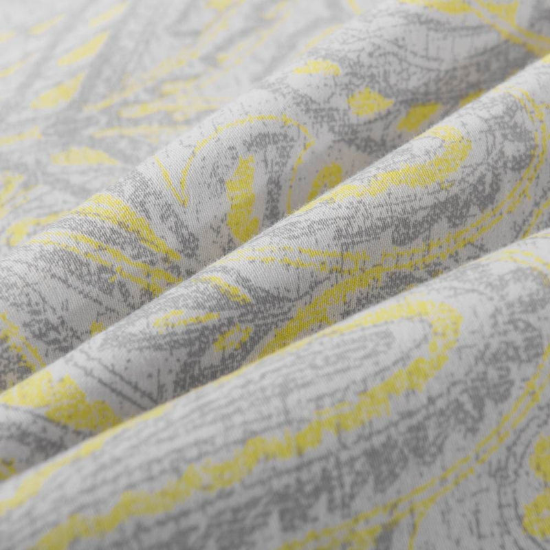 Yellow Cotton Duvet Cover Set Paisley Pattern Washed | Wholelinens