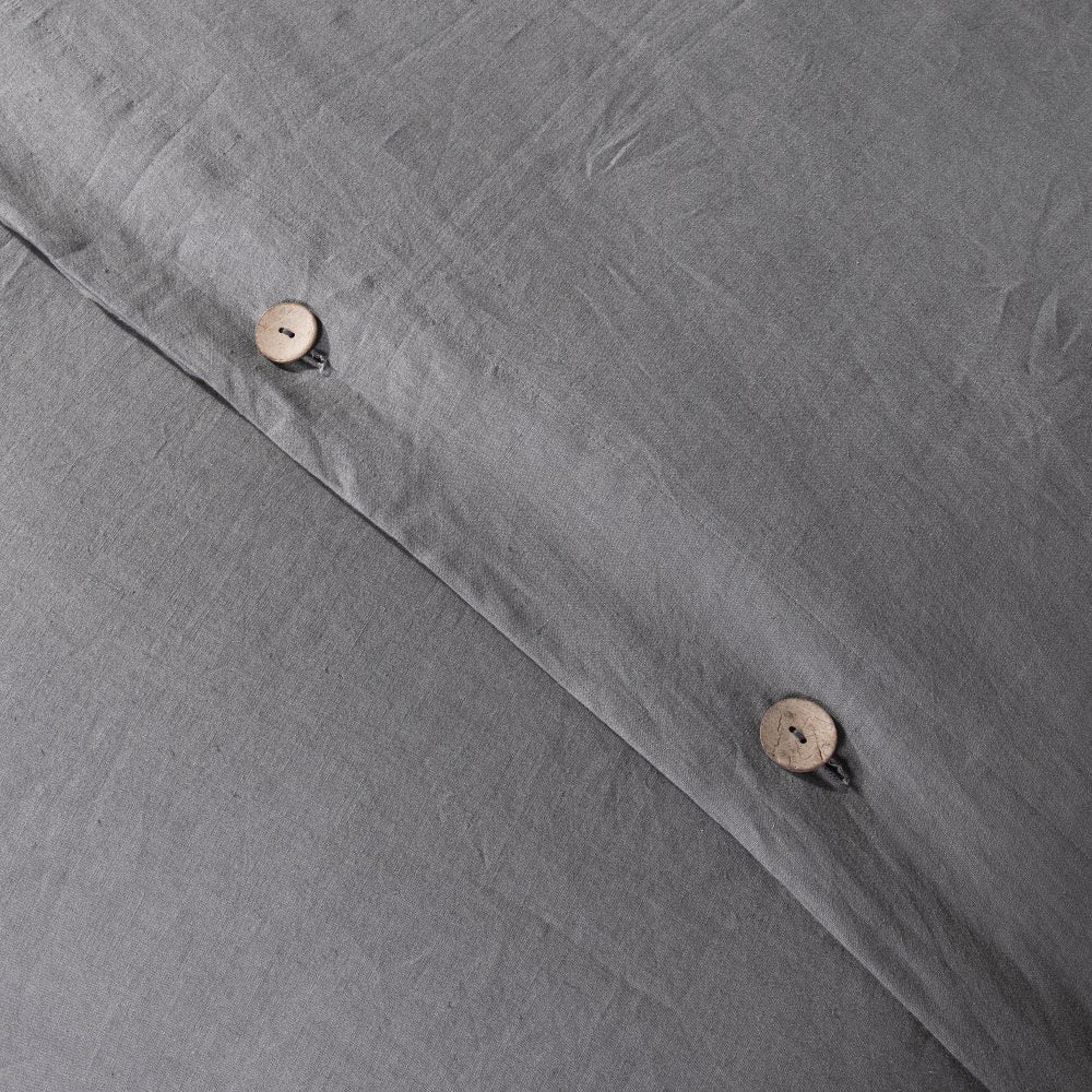 Wholelinens Linen Duvet Cover Set- Stone Washed, Coconut Shell Button Closure - Wholelinens