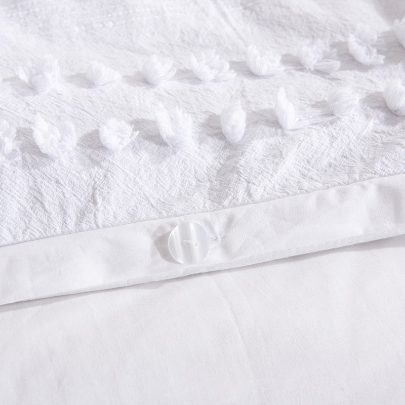 Wholelinens Dobby Clipped Dot Duvet Cover Set, White - Wholelinens