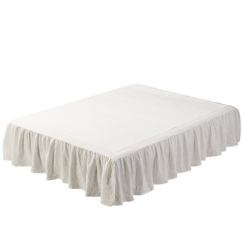 "Linen Bed Skirt-Washed Dust Ruffle 16"" Drop-Wholelinens"
