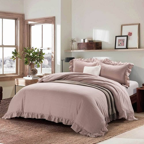 Wholelinens Linen Blend Duvet Cover Set-Stone Washed Ruffled - Wholelinens