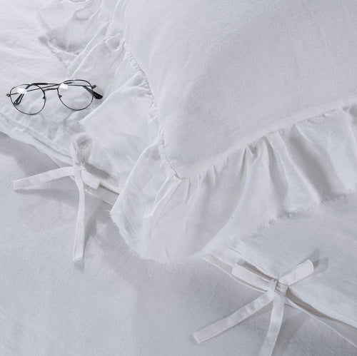 Wholelinens Linen Duvet Cover Set-Stone Washed Tattered Ruffle - Wholelinens