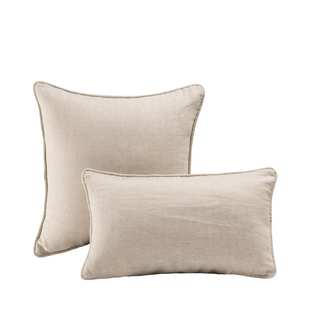 Wholelinens Stone Washed Linen Pillow Cover, Corded Edge, Natural - Wholelinens