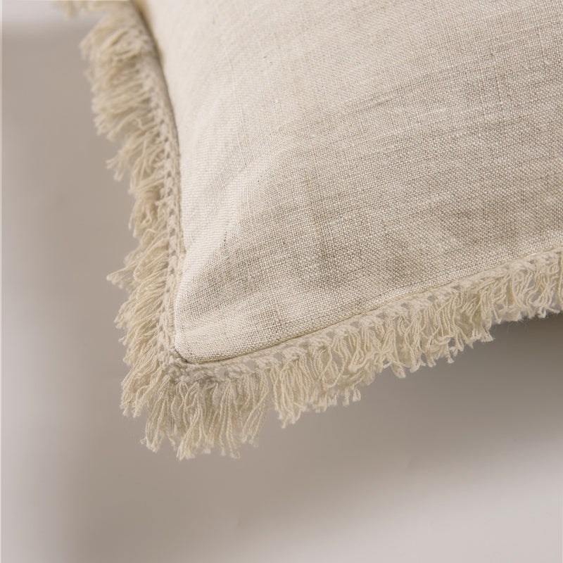 "Wholelinens Stone Washed Linen Pillow cover,1"" Fringe trim, Natural - Wholelinens"