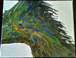 "Original, One-of-a-Kind Abstract Acrylic Pour Painting 8""x10"""