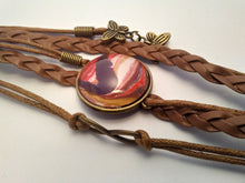 "Load image into Gallery viewer, Braided Leather Bracelet Acrylic Paint Glass Cabochon Fits 6""-9"""