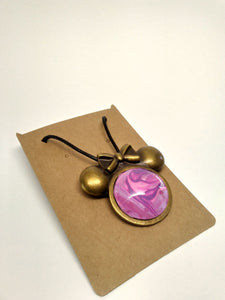 Ms. Mouse Antique Brass Glass Cabochon Acrylic Paint Pendant w/ Braided Leather Necklace
