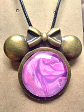 Load image into Gallery viewer, Ms. Mouse Antique Brass Glass Cabochon Acrylic Paint Pendant w/ Braided Leather Necklace