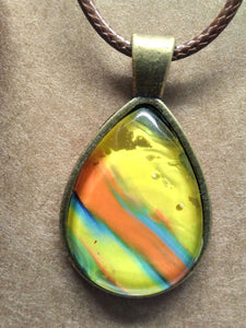 Antique Brass Glass Cabochon Acrylic Paint Pendant w/ Braided Leather Necklace