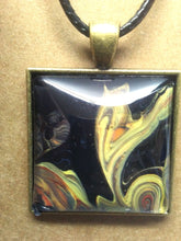 Load image into Gallery viewer, Antique Brass Glass Cabochon Acrylic Paint Pendant w/ Braided Leather Necklace