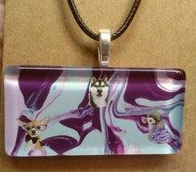 Load image into Gallery viewer, Acrylic Paint Glass Cabochon Pendant w/ Braided Leather Necklace DOGS!