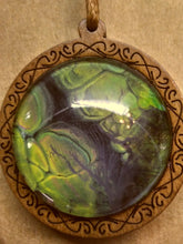 Load image into Gallery viewer, Carved Wood Acrylic Paint Glass Cabochon Pendant w/ Long Braided Leather Necklace