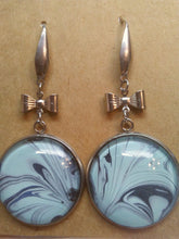 Load image into Gallery viewer, Acrylic Paint Glass Cabochon Stainless Steel Earrings 25mm/1""
