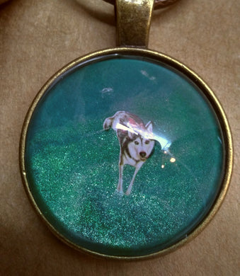 Antique Brass Glass Cabochon Acrylic Paint Pendant w/ Braided Leather Necklace Metallic DOG Husky on Leash