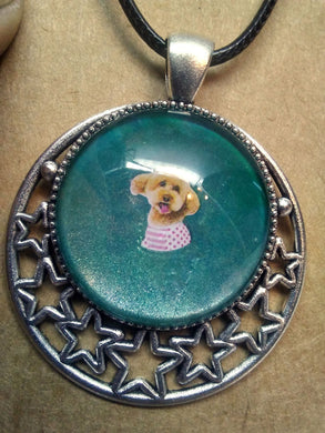 Glass Cabochon Acrylic Paint Pendant w/ Braided Leather Necklace Poodle DOG