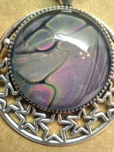 Glass Cabochon Acrylic Paint Pendant w/ Braided Leather Necklace