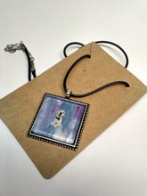 Load image into Gallery viewer, Acrylic Paint Glass Cabochon Pendant w/ Braided Leather Necklace DOG