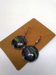 Acrylic Paint Glass Cabochon Stainless Steel Earrings 25mm/1""
