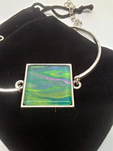 "Load image into Gallery viewer, Tube Metal Bracelet Acrylic Paint Glass Cabochon Fits 6""-8"""