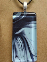 Load image into Gallery viewer, Acrylic Paint Glass Cabochon Pendant w/ Braided Leather Necklace