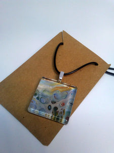 Acrylic Paint Glass Cabochon Pendant w/ Braided Leather Necklace