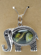 Load image into Gallery viewer, Acrylic Paint Glass Cabochon Elephant Pendant