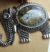 Load image into Gallery viewer, Acrylic Paint Glass Cabochon Elephant Pendant - Iridescent Gold Shimmer