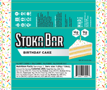 Load image into Gallery viewer, birthday cake stoka bar nutrition facts keto dairy free gluten free