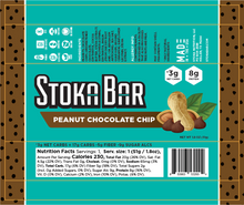 Load image into Gallery viewer, peanut chocolate chip stoka bar nutritional facts keto dairy free gluten free sugar free chocolate chips