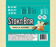 Load image into Gallery viewer, vanilla almond stoka bar nutrition facts keto dairy free gluten free
