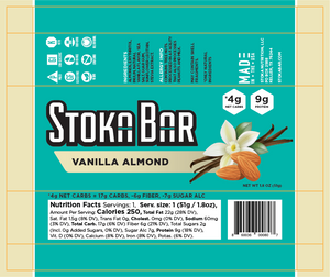 vanilla almond stoka bar nutrition facts keto dairy free gluten free
