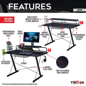 Desk - Techni Sport Gaming Desk - Carbon