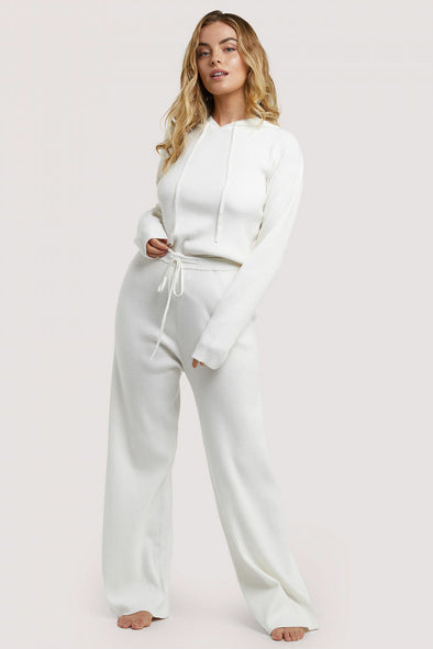 Wolf & Whistle Knitted Rib Cropped HoodieWolf & Whistle Knitted Rib Lounge Trousers