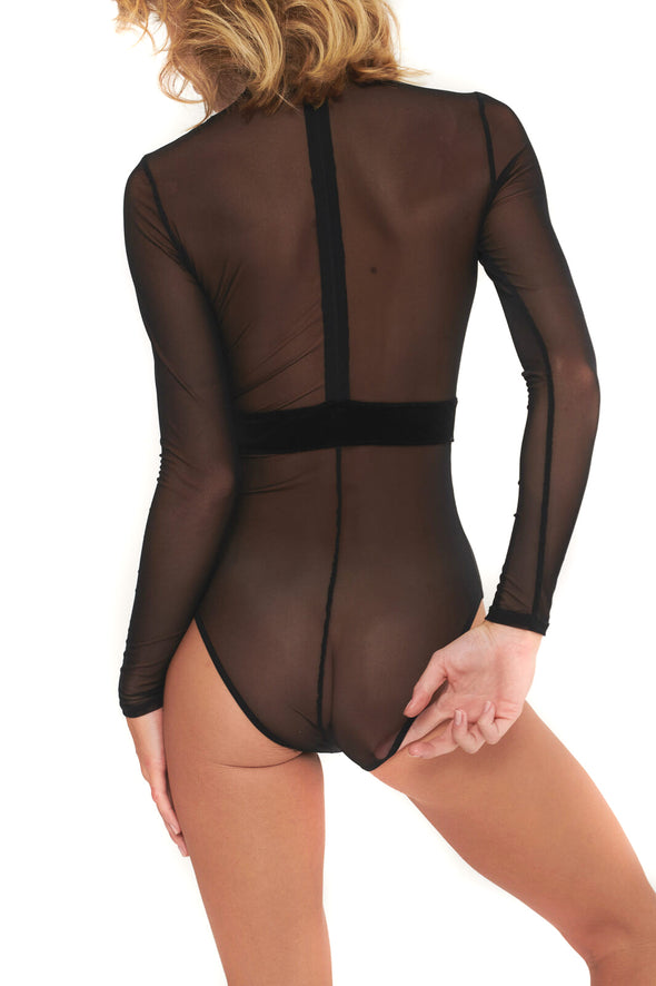 Undress Code Black Sheer Mesh Velvet Bodysuit