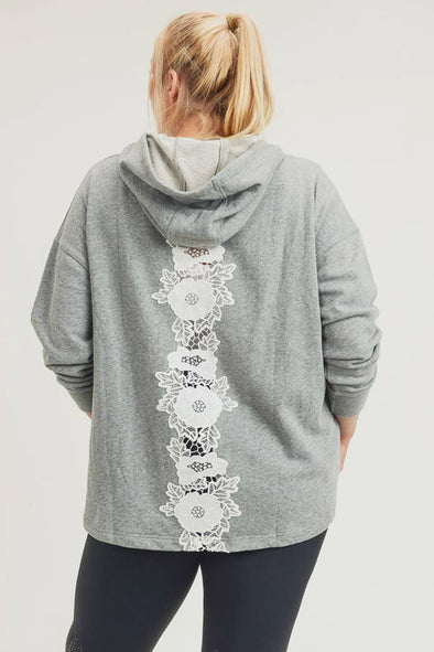 Mono B Plus Size Lace Applique Pullover Hoodie