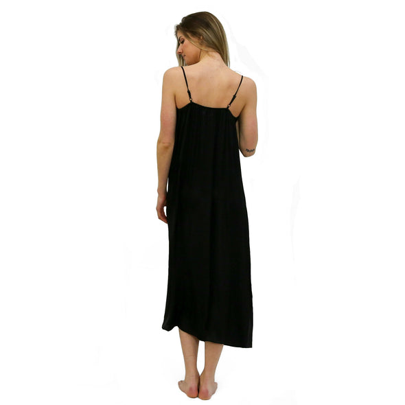 Hidden Intimates Noire Black Full Length Dress with side slit