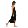 Midi Length Black Silk Slip with Slit