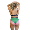 Hidden Intimates Dora Larsen Pink and Green High Waist Panties with Lace