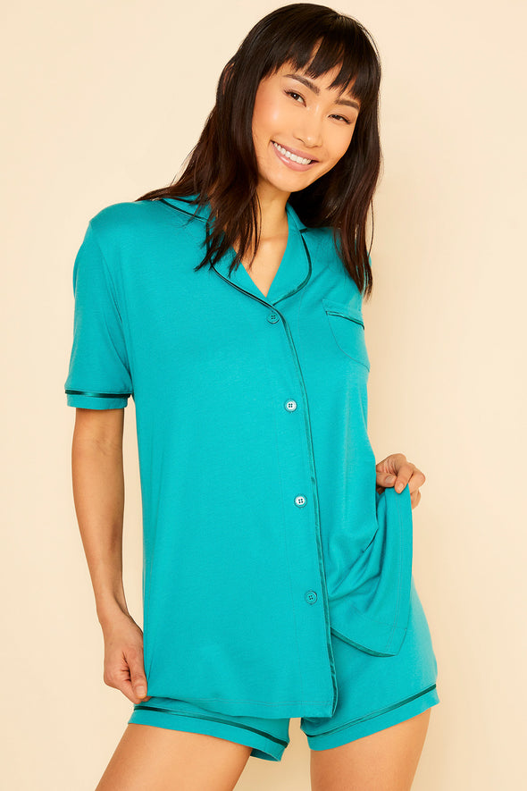 Cosballa Short Sleeve Top & Boxer Pajama Set Jade