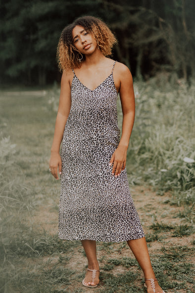 Hidden Intimates Animal Print Midi Maxi Slip Dress