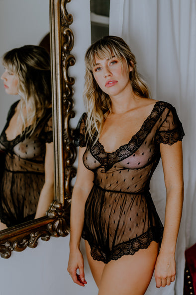 Hidden Intimates Black Lace Sheer Romper