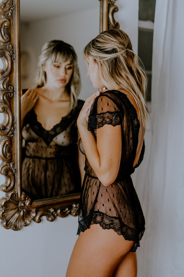 Hidden Intimates Black Lace Sheer Romper Teddy