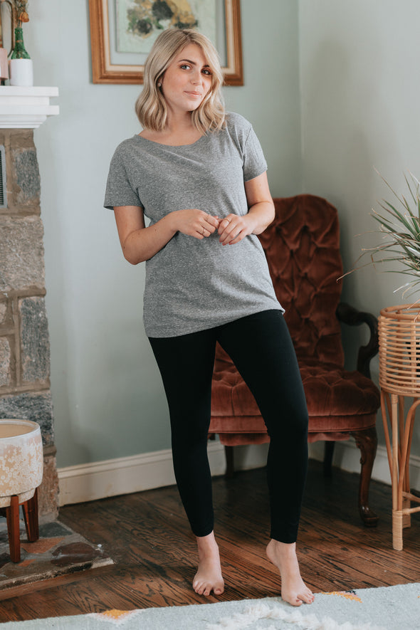 Joe's Jeans Wide Neck Heather Grey Tee