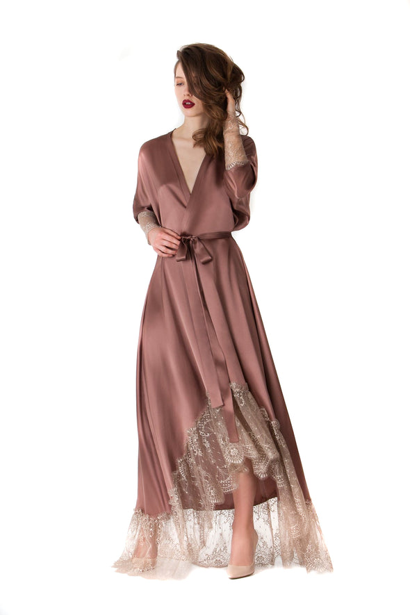 Hidden Intimates Amoralle Glossy Gown Silk Robe