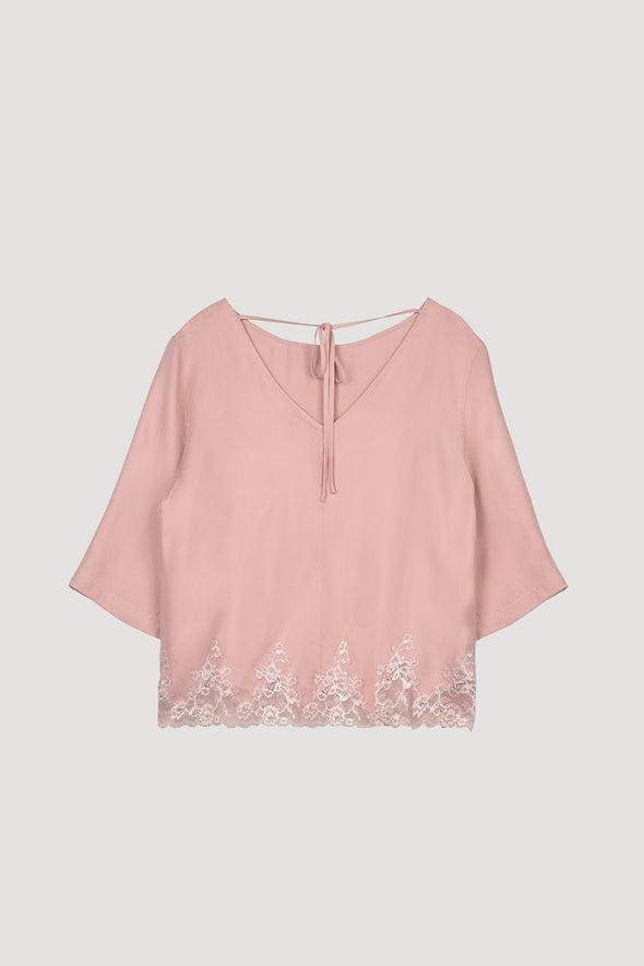 Hidden Intimates Lucia Berutto Silk Pink Top with Bell Sleeve and Bow Back and Lace Edge
