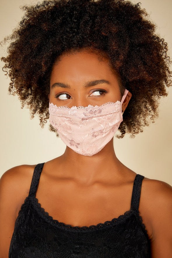 COSABELLA SAVONA PLEATED LACE FACE MASK
