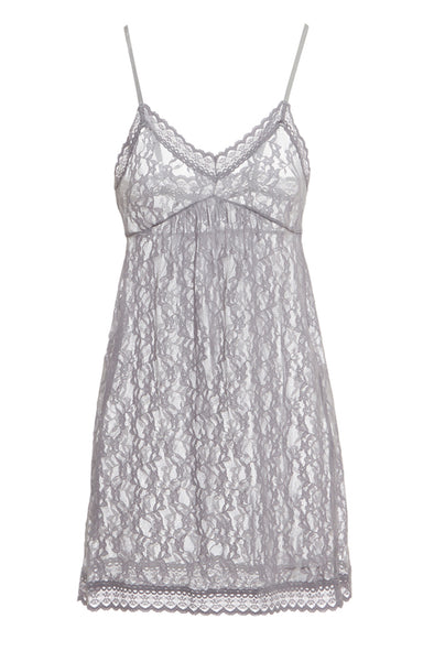 Hidden Intimates Eberjey Amaya Sheer Lace Purple Chemise Slip