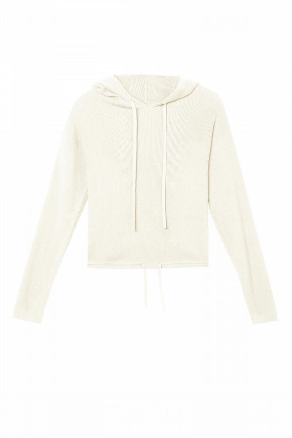 Wolf & Whistle Knitted Rib Cropped Hoodie
