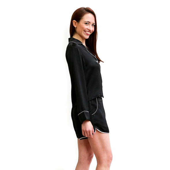 Hidden Intimates Lela Silk Handmade Black Long Sleeve Shirt and Shorts Sleep Set